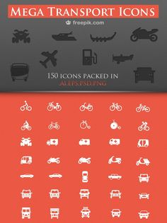 150 Royalty-Free Transport Icons Pack ::  complete pack that includes an amazing variety of transports icons in three sizes (32, 64 and 128 px) and in four formats (.AI, .EPS, .PSD and .PNG) you can use in webs, print and apps about travels, maps, navigation, tourism…