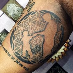 Geometric Matching Father Son Tattoos For Men