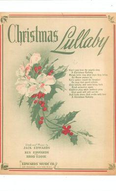 Vintage Christmas Sheet Music ~ Christmas Lullaby