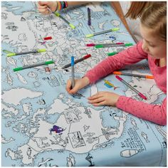 Doodle World Map Tablecloth with 10 Wash Out Pens: Image 1