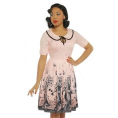 Petal  Pink Fairy Print Swing Dress - from Lindy Bop UK Vintage Inspired  Fashion.   71d5387d7b