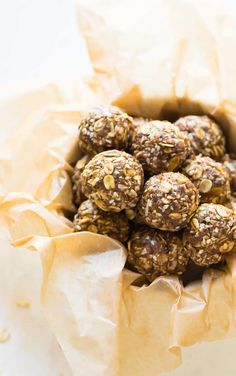 Healthy Energy Balls – easy, no bake, and high in protein and fiber! Made with oatmeal, almond butter, coconut and flaxseed. Raw vegan recipe that's naturally sweetened and gluten free. Recipe at wellplated.com | @wellplated