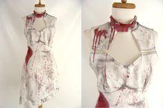 $62.00 Zombie Dress. Zombie Costume. ooak Bloody Vintage 70s White Dress. MOD ZOMBIE. Sexy Vampire Costume. Sexy Zombie. Halloween Costume. S M 6 8 by wardrobetheglobe on Etsy
