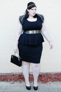 aussie curves plus size danimezza blogger outfit dress peplum black fur gold SPIKE