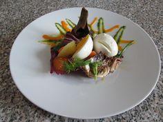 Salade  de  mozarelle  oeuf legumes  ''( bouille, ròti e cru )''  sauces de roquette et de carottes Gino D'Aquino