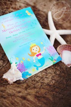 Mermaid Birthday Party Invitation - Magical Mermaid Under the Sea Collection as seen on KARA'S PARTY IDEAS - Gwynn Wasson Designs Printables. $15.00, via Etsy.