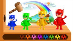 Learn Colors with PJ Masks OWLETTE Wooden FACE HAMMER  for Kids by Kiddl...