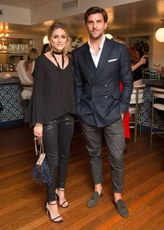 Olivia Palermo and Johannes Huebl at the Stuart Weitzman New York Fashion Week party.