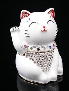 Hinged Jeweled Trinket Box Cute Japan Lucky Cat Jewelry Earring Holding Gift White -- Want additional info? Click on the image. (This is an affiliate link and I receive a commission for the sales)