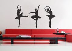 Three Ballerinas  Wall Decal Vinyl Decor Art Sticker- Love!