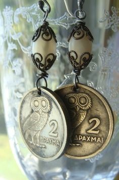 Vintage 1973 Owl Coin Greek Drachma  Earrings by CobwebPalace