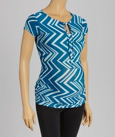 Another great find on #zulily! Blue Zigzag Maternity Top #zulilyfinds
