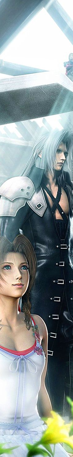 Aerith & Sephiroth, and genesis photo bombing in the background