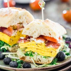 Bacon Omelette Goat Cheese Ciabatta Breakfast Sandwiches - what better way to start off your day…