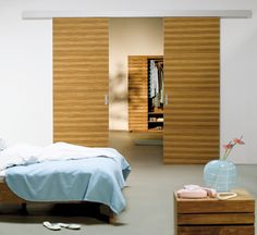 Das Inova Schiebetür System Fino Mit Mit Holzdekor. Hier Finden Die  Schiebetüren Anwendung Im