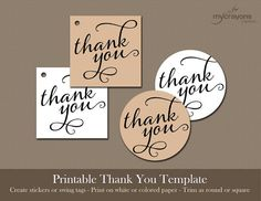 Instant Download Thank You Stickers, Favor Tags // DIY Printable // Black, Flourish Thank You // Round or Square, Wedding Shower Favor Tag on Etsy, £4.06