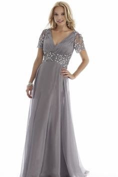 Plus Size Cheap Groom Dress Mother of the Bride Dresses With Short Sleeves 2015 Suits Evening Gowns Gray Long V Neck Chiffon Crystals Mother Of The Bride Plus Size, Mother Of The Bride Dresses Long, Mothers Dresses, Mother Bride, Evening Dresses With Sleeves, Formal Evening Dresses, Evening Gowns, Plus Size Dresses, Short Dresses