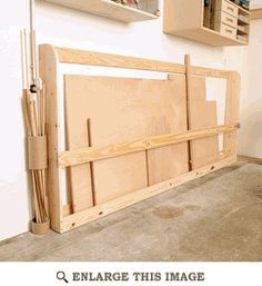 """Staying Organized - A place to keep sheet goods, including cardboard... especially cardboard :-)"" Storage idea"
