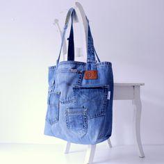 XXL tote sac de plage avec beaucoup de poches ! -jeans toile recyclé - grande plage - sac weekender - piscine sac pour l