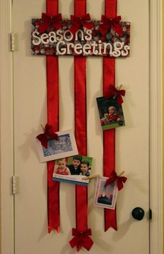 Over-the-door Ribbon Christmas Card Holder (no sticking to the wall!) via momendeavors.com