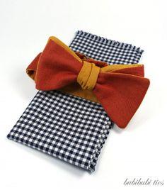 Orange chambray reversible bowtie, navy gingham pocket square