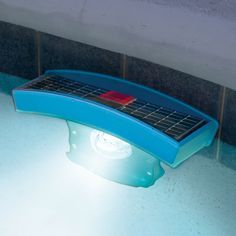 The Solar Pool Light - Hammacher Schlemmer  This is the solar light that sets up anywhere inside a pool without wiring and provides bright underwater illumination. Two solar panels on the top of the unit power the internal rechargeable batteries, providing up to 4 hours of light after one day of full sun exposure.