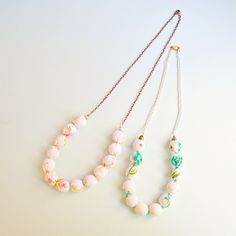 Upcycled Vintage Fabric Wrapped Bead Necklaces