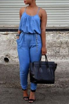 Brief Spaghetti Strap Blue Backless Jumpsuit