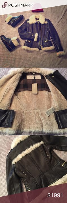 NWT Authentic Burberry Shearling-Lined Leather Jkt This gorgeous coat is NWT.  The leather is dark brown and soft, not stiff like some leather jackets.  The metal details are all in gold tone with Burberry Brit printed on the zippers and shoulder epaulettes.  Ornamental shearling edges are long and soft, while the lining of the jacket is like an Ugg, dense and warm :).  The jacket has a feminine fit to show off curves (see 3rd pic). I'd be happy to post other pics or answer questions, just…