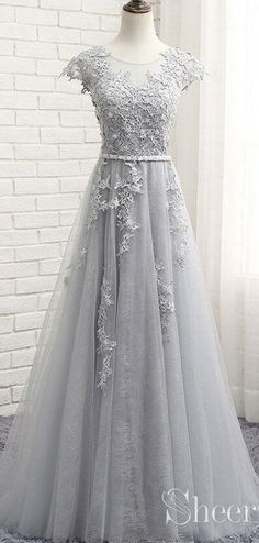 Long Cheap Lace Prom Dresses Silver Maxi Dress Evening Gowns - How To Be Trendy Evening Gowns With Sleeves, White Evening Gowns, Formal Evening Dresses, Tulle Prom Dress, Grad Dresses, Homecoming Dresses, Evening Gowns Online, Designer Evening Gowns, Glamour