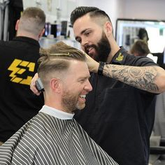 WEBSTA @theelectricchairbarbershop All smiles everyday! Both locations open til 7 tonight! Barber: Mitch