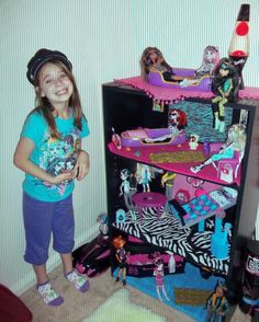 Monster High Dollhouse Ideas - Banker Box or Book Shelf with scrap book paper and dollar store trinkets!!