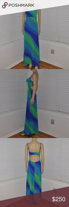 TADASHI SHOJI Sexy Cutout Back Mesh Maxi Dress Dress up for a more formal look or dress down for resort attire.  size XS designer: Tadashi Shoji condition: excellent color: blue | green  layered sand pattern mesh overlay fully lined cowl neckline cutout back maxi length made in the USA Seahawks colors  @cjrose25  More formal dresses in my posh closet!! Tadashi Shoji Dresses Maxi