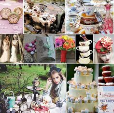 lots of flowers wedding themes, wonderland wedding, clock, alice in wonderland, wonderland party, tea, aliceinwonderland, bridal showers, parti