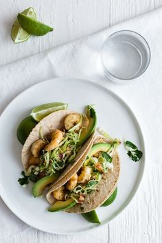 Shrimp Tacos with Cilantro, Lime, Bacon Slaw. Gluten-free and paleo.
