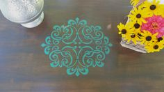 6 legged table, Annie Sloan Florence Chalk Paint.  Stained top with stencil.