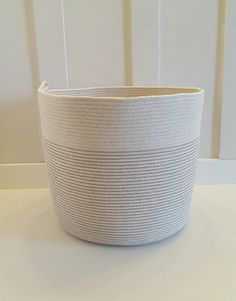 Extra Large Gray and White Rope Basket by PrairieStMercantile Blanket Basket, Rope Basket, White Rope, Grey And White, Gray, Cleaning, Handmade, Crafts, Stuff To Buy