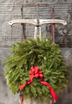 Wreath on an Old Sled ~ Ana Rosa Christmas Sled, Primitive Christmas, Country Christmas, Winter Christmas, All Things Christmas, Vintage Christmas, Christmas Wreaths, Christmas Crafts, Christmas Decorations