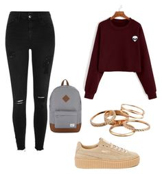 """""""School outfits"""" by neeruam6 on Polyvore featuring Puma, River Island, Kendra Scott and Herschel Supply Co."""
