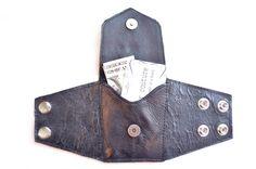 Leather  Wrist  Cuff  Wallet  Wrist Wallet  Black  by FooFooFido