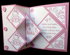 Fold back pop up Baby Girl on Craftsuprint designed by Carol Dunne - made by Diane Hitchcox - I printed off onto 250 gram card and cut out and scored were needed .I attached decoupage using sticky pads to make up this cute and easy card. - Now available for download!