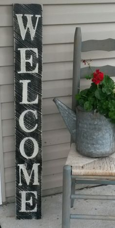 Rustic Distressed Vertical Welcome Sign by RagdollAnnies on Etsy