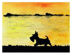 A personal favourite from my Etsy shop https://www.etsy.com/uk/listing/287086285/scottish-terrier-dog-art-print-scottie
