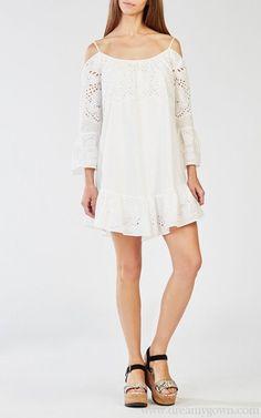 2016 Niki Off the Shoulder Embroidered Ruffle BCBG Dress