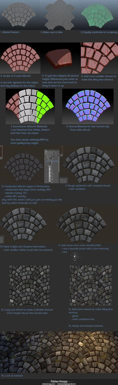 Creating Stylized tiling Cobblestone Fan Pattern - RPG Resources Inspiration - How to cobblestone painting drawing texture resource tool how to tutorial instructions Zbrush Tutorial, 3d Tutorial, Photoshop Tutorial, Digital Painting Tutorials, Digital Art Tutorial, Art Tutorials, Sculpting Tutorials, Drawing Tutorials, Drawing Tips