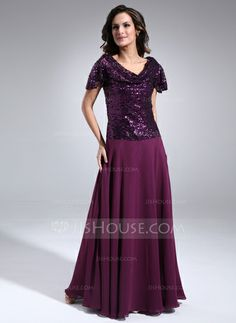 Mother of the Bride Dresses - $152.99 - A-Line/Princess Cowl Neck Floor-Length Chiffon Sequined Mother of the Bride Dress With Ruffle (008006100) http://jjshouse.com/A-Line-Princess-Cowl-Neck-Floor-Length-Chiffon-Sequined-Mother-Of-The-Bride-Dress-With-Ruffle-008006100-g6100