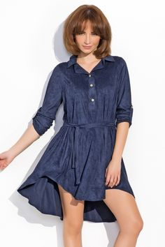 Sukienka z kołnierzykiem NU19 Navy Blue, Shirt Dress, Casual, Shirts, Dresses, Products, Fashion, Vestidos, Moda