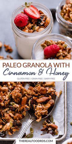 Paleo Granola | gluten free granola recipe | grain-free snack recipe | dairy-free granola recipe | healthy granola recipe | delicious granola recipe | gluten-free snack recipe || The Real Food Dietitians #glutenfree #granola Paleo Granola Recipe, Paleo Snack, Gluten Free Granola, Paleo Food, Raw Food, Paleo Cereal, Grain Free Granola, Food Nutrition, Veggie Food