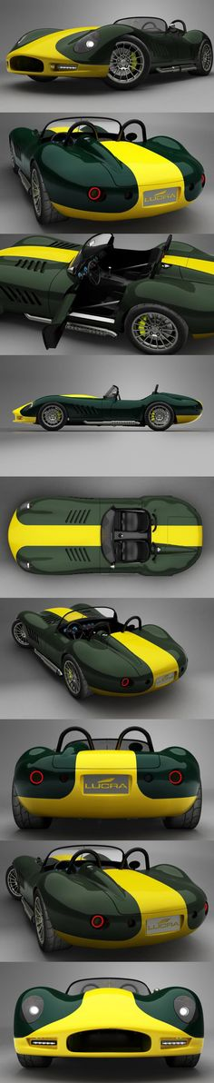racing green and yellow. Green= chic yellow=fast and sporty. LUCRA LC470 - 2013 car wrap vehicle graphic vinyl