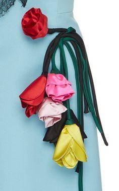 Lace-Paneled Appliquéd Gabardine Dress by PRADA Now Available on Moda Operandi Embroidery On Clothes, Embroidery Dress, Unique Fashion, Fashion Details, Fashion Design, Luxury Fashion, Looks Chic, Looks Style, Diy Rose